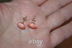 Antique Quality Rare Red Salmon Momo Japanese 11 MM Oval Coral Stud Earrings Bb