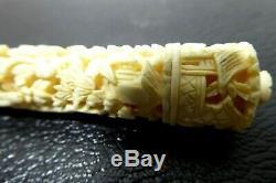 Antique Victorian Sewing Needle Case Holder Fine Japanese Carved Netsuke Figures