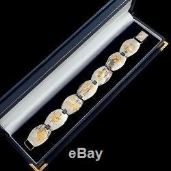 Antique Vintage Art Deco Sterling 925 Silver Gold Japanese Scene Floral Bracelet