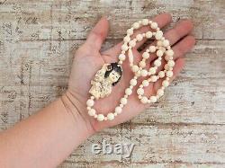 Antique Vintage Deco Japanese Resin Carved Geisha Netsuke Bead Necklace 32.1g