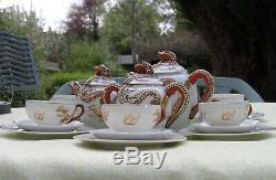 Antique/Vintage Japan Fine China Kutani 21 Piece Dragonware Geisha Girl Tea Set