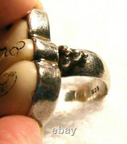 Antique Vintage Rare Signed Japanese Carved Netsuke Cat Kitten Sterling 925 Ring