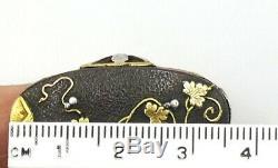 Antique vintage Japanese Sterling silver & metal Shakudo ring size 6.5