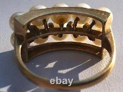 Antique14k Gold1920s Art Deco Japanese 10-4mm Akoya Pearls Band Ring, Size 6.25
