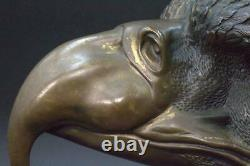 BOS202 Japanese finely brass eagle head figurine Ornament carved