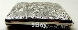 BOXed & FINE Japanese STERLING SILVER 950 carved PAISLEY Cigarette/Card CASE