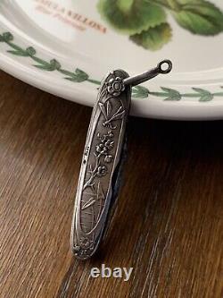 Bug Floral SOLID SILVER Chatelaine Pocket Knife Pen K Pendant Japanese Dragonfly