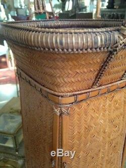 Circa 1900 Antique Fine Japanese Handwoven Tall Basket with Handle Asian