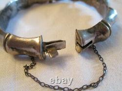 EARLY Antique ENGLISH CHINESE / JAPANESE BAMBOO 925 Silver Bangle BRACELET