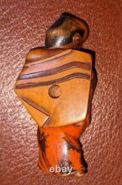 Edo Period fine carved wooden negoro lacquer netsuke unsigned