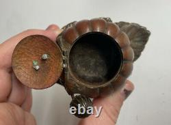 FINE Antique Japanese Meiji Era Kabocha Squash with Dragonfly & Leaf Inkwell Metal