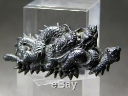 FINE Black Shakudo Dragon MENUKI 17-18thC Japanese Edo Koshirae Tsuba Antique