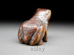 FINE Boxwood Carving Frog NETSUKE 18-19thC Japanese Edo Antique for INRO G312