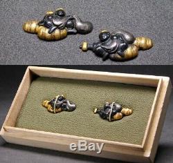 FINE DAIKOKU GOD MENUKI 17-18thC Japanese Edo Samurai Koshirae Tsuba Antique