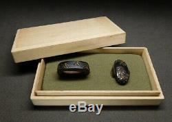 FINE FUCHI/KASHIRA Bamboo grasses & Snow 18-19thC Japanese Edo Koshirae Antique