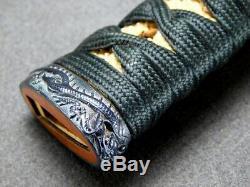 FINE Fittings TSUKA Dragon FUCHI/KASHIRA 19C Japanese Edo Orignal Antique