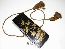 FINE Gold Nashiji Makie Lacquer Box Japanese Original Edo Inro Antique