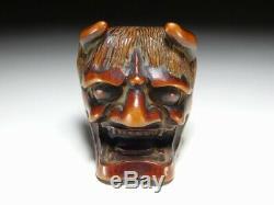 FINE HANNYA Noh Mask MEN-NETSUKE 18/19C Japanese Edo Original Antique for Inro