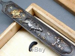 FINE Inlay KOGAI Farmers 18-19thC Japanese Edo Samurai Antique for Koshirae