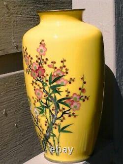 FINE JAPANESE Silver Wire CLOISONNE ENAMEL VASE Imperial Yellow Ando Jubei Style
