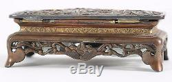 FINE Japan Japanese Bronze Silver & Gold Wash Inkwell Signed Meiji ca. 19th c