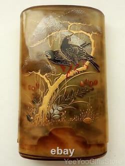 FINE Japanese Makie LACQUER faux TORTOISE SHELL cigarette/CIGAR CASE-inro