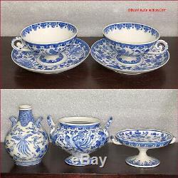 FINE Japanese Seto Sometsuke KATO SHUBEI Blue White Porcelain Tea & Coffee Set