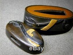 FINE KINKO FUCHI/KASHIRA Bracken 18-19thC Japanese Edo Antique for Koshirae