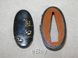 FINE KINKO FUCHI/KASHIRA Herons 18-19thC Japanese Edo Original Antique Koshirae