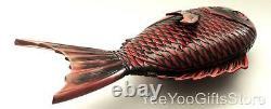 FINE & LARGER Japanese red LACQUER Snapper-Sea bream/Tai FISH lidded TRAY-BOX