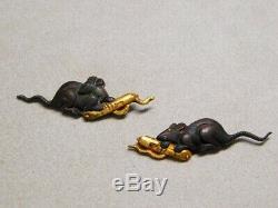 FINE Mouse with Scroll MENUKI 18-19thC Japanese Original Antique Edo Koshirae