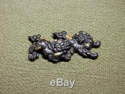 FINE SHISHI Foo dog MENUKI 18-19thC Japanese Edo Katana Koshirae Tsuba Antique