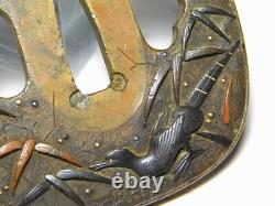 FINE SHONAI School Pheasant TSUBA Japanese Original Edo Antique Sword fitting