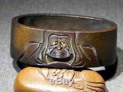 FINE SIGNED DARUMA FUCHI/KASHIRA 18-19thC Japanese Edo Antique for Koshirae