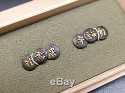 FINE Shakudo Poetry MENUKI 18-19thC Japanese Edo Antique for Koshirae F909d