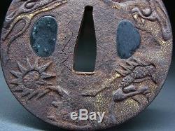 FINE Signed Dragon TSUBA 18-19thC Japanese Edo Antique for Koshirae f370