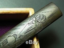 FINE Signed Farmer KOZUKA 18-19thC Japanese Edo Antique for Koshirae f701