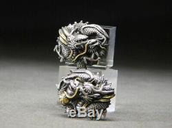 FINE Silver Dragon MENUKI 19thC Japanese Edo Samurai Koshirae Tsuba Antique