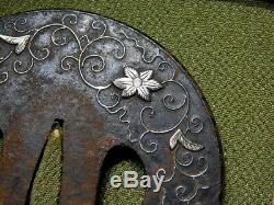 FINE Silver Flowers TSUBA 18-19thC Japanese Edo Antique Koshirae