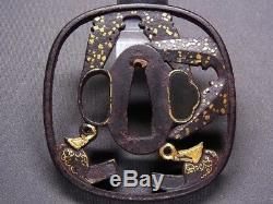FINE TSUBA 18-19th C Japanese Edo Antique Koshirae fitting KURA & ABUMI e471