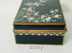 FINE c1900 JAPANESE MEIJI INABA CLOISONNE ENAMEL Gold GILT BRONZE DESK BIRD BOX
