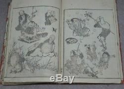 Fine 19thC Japanese Edo Antique Woodblock Printed Book Of People & Places etc