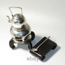 Fine 950 Sterling Silver Chanoyu Chagama Furo Miniature teapot Salt cellar