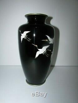 Fine Ando Japanese Cloisonne Vase with 5 Cranes in Flight 604