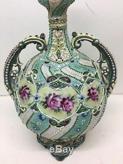 Fine Antique JAPANESE MEIJI-ERA SATSUMA Moriage Vase with Flowers c. 1900 antique