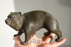 Fine Antique Japanese Bronze Okimono Of A Tanuki Signed