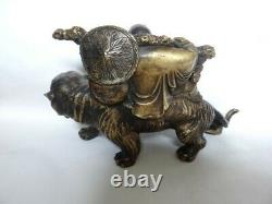 Fine Antique Japanese Bronze Okimono Statue Buddha Hotei On Tiger