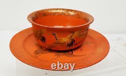 Fine Antique Japanese Chinese Lacquer Bowl Dish Koi Crane Reddish Orange