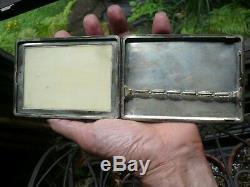 Fine Antique Japanese Cigarette Case, Sterling With Carved Oxen Bone-Bovine