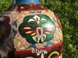 Fine Antique Japanese Cloisonne Enamel Vase with Dragons/Phoenix Meiji Goldstone